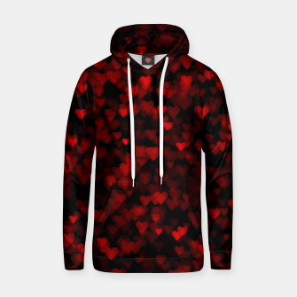 Red Hearts Blurry Vision Dark Black Romantic Love Hoodie Bild der Miniatur