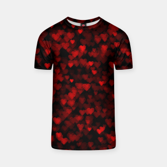 Red Hearts Blurry Vision Dark Black Romantic Love T-shirt Bild der Miniatur