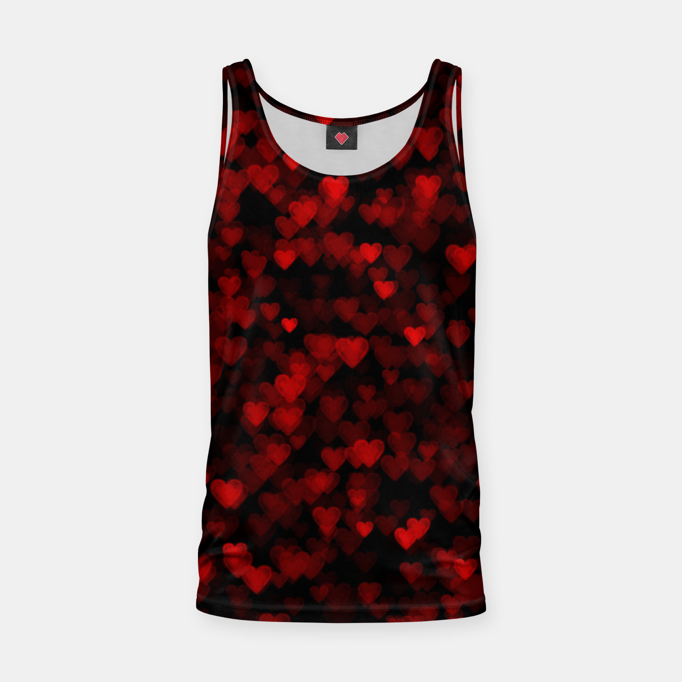 Foto Red Hearts Blurry Vision Dark Black Romantic Love Tank Top - Live Heroes