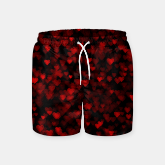 Red Hearts Blurry Vision Dark Black Romantic Love Swim Shorts Bild der Miniatur