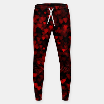 Red Hearts Blurry Vision Dark Black Romantic Love Sweatpants Bild der Miniatur