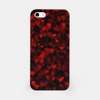 Red Hearts Blurry Vision Dark Black Romantic Love iPhone Case Bild der Miniatur