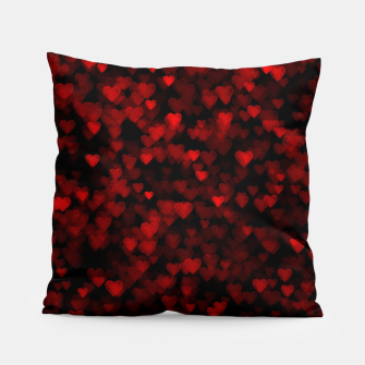 Red Hearts Blurry Vision Dark Black Romantic Love Pillow Bild der Miniatur