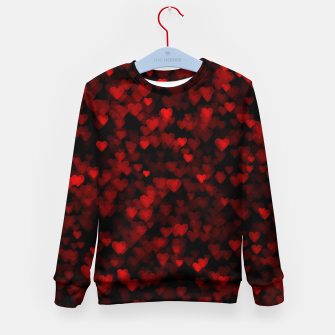 Red Hearts Blurry Vision Dark Black Romantic Love Kid's sweater Bild der Miniatur