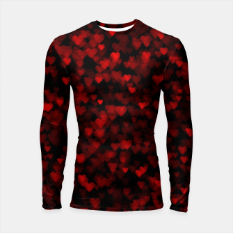 Red Hearts Blurry Vision Dark Black Romantic Love Longsleeve rashguard  Bild der Miniatur