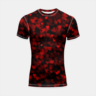Red Hearts Blurry Vision Dark Black Romantic Love Shortsleeve rashguard Bild der Miniatur