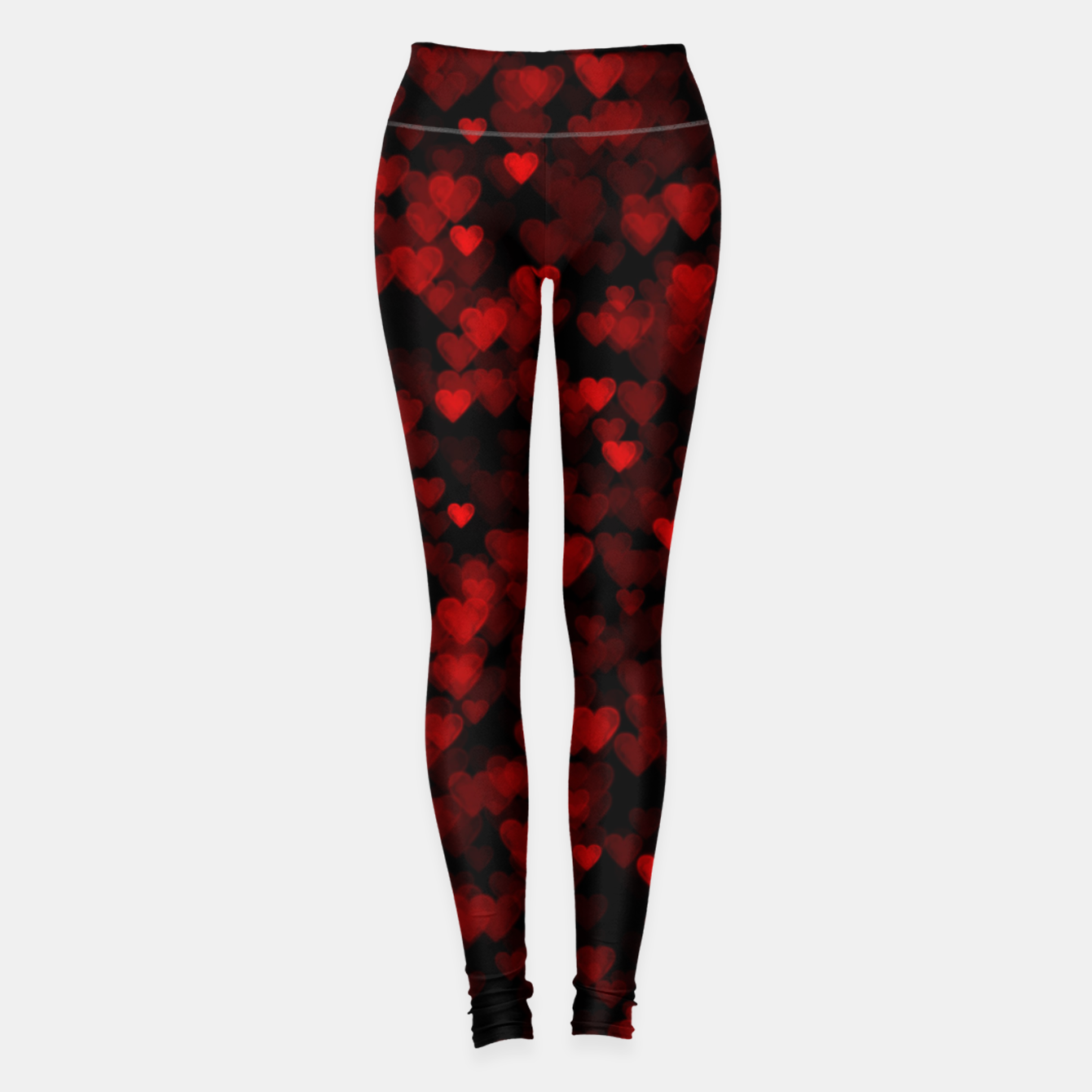 Foto Red Hearts Blurry Vision Dark Black Romantic Love Leggings - Live Heroes