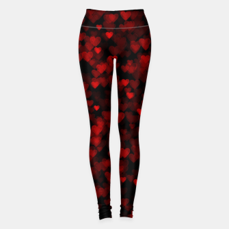 Red Hearts Blurry Vision Dark Black Romantic Love Leggings Bild der Miniatur