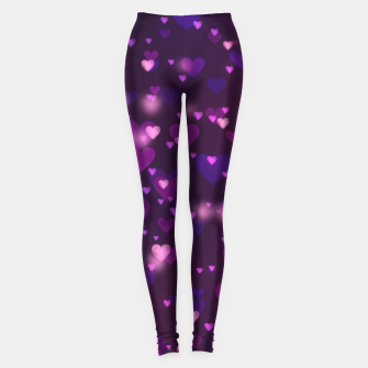 Thumbnail image of Twinkling Blurred Hearts Girly Purple Love Valentine's Day Leggings, Live Heroes