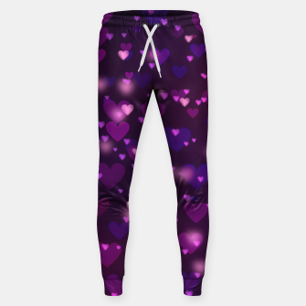 Thumbnail image of Twinkling Blurred Hearts Girly Purple Love Valentine's Day Sweatpants, Live Heroes