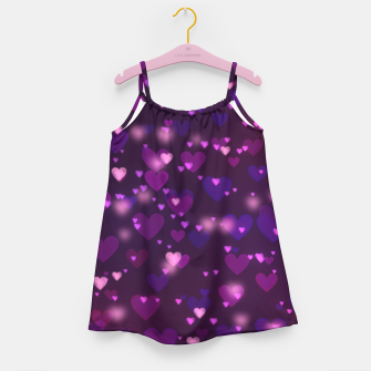 Thumbnail image of Twinkling Blurred Hearts Girly Purple Love Valentine's Day Girl's dress, Live Heroes