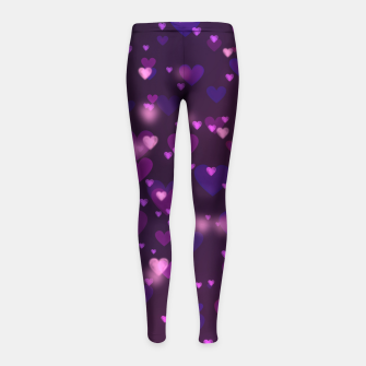 Thumbnail image of Twinkling Blurred Hearts Girly Purple Love Valentine's Day Girl's leggings, Live Heroes