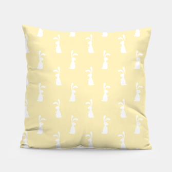 Thumbnail image of Cute White Rabbit Ears Happy Easter Spring Season  Pillow, Live Heroes