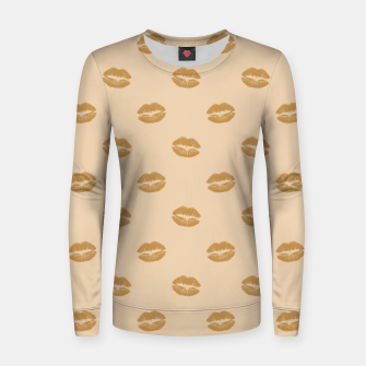 Thumbnail image of Golden Lips Pastel Orange Sensual Mouth Girly Kisses Women sweater, Live Heroes