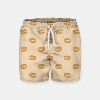 Thumbnail image of Golden Lips Pastel Orange Sensual Mouth Girly Kisses Swim Shorts, Live Heroes