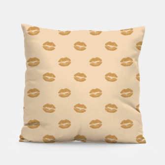 Thumbnail image of Golden Lips Pastel Orange Sensual Mouth Girly Kisses Pillow, Live Heroes
