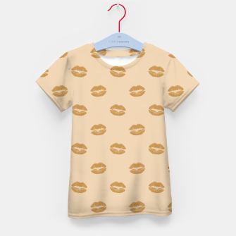 Thumbnail image of Golden Lips Pastel Orange Sensual Mouth Girly Kisses Kid's t-shirt, Live Heroes