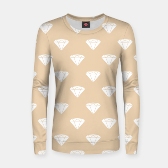Thumbnail image of White Diamond Shape Pastel Orange Luxury Jewel Women sweater, Live Heroes