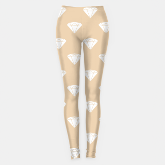Thumbnail image of White Diamond Shape Pastel Orange Luxury Jewel Leggings, Live Heroes