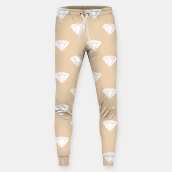 Thumbnail image of White Diamond Shape Pastel Orange Luxury Jewel Sweatpants, Live Heroes