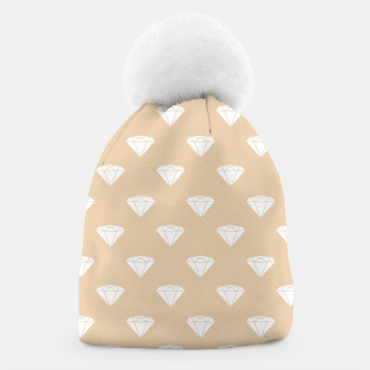 Thumbnail image of White Diamond Shape Pastel Orange Luxury Jewel Beanie, Live Heroes