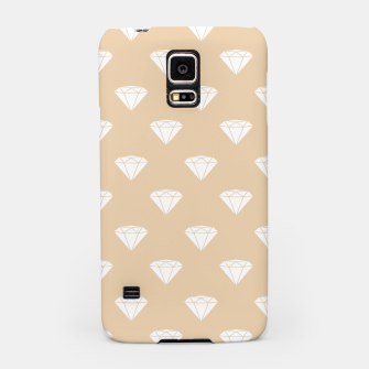 Thumbnail image of White Diamond Shape Pastel Orange Luxury Jewel Samsung Case, Live Heroes