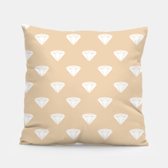 Thumbnail image of White Diamond Shape Pastel Orange Luxury Jewel Pillow, Live Heroes