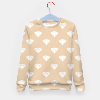 Thumbnail image of White Diamond Shape Pastel Orange Luxury Jewel Kid's sweater, Live Heroes
