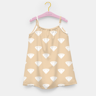 Thumbnail image of White Diamond Shape Pastel Orange Luxury Jewel Girl's dress, Live Heroes