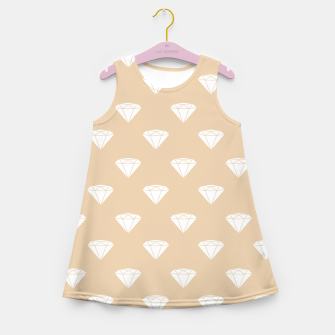 Thumbnail image of White Diamond Shape Pastel Orange Luxury Jewel Girl's summer dress, Live Heroes