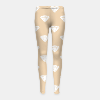 Thumbnail image of White Diamond Shape Pastel Orange Luxury Jewel Girl's leggings, Live Heroes