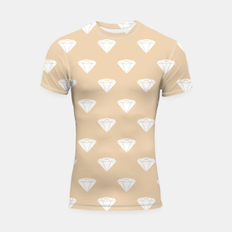 Thumbnail image of White Diamond Shape Pastel Orange Luxury Jewel Shortsleeve rashguard, Live Heroes