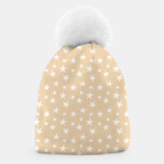 Thumbnail image of White Stars Pastel Orange Starry Sky Astrology Astronomy Beanie, Live Heroes