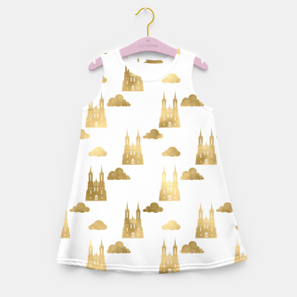 Thumbnail image of Golden Princess Castle Clouds Royal Magic Fairytale Girl's summer dress, Live Heroes