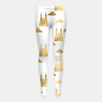 Thumbnail image of Golden Princess Castle Clouds Royal Magic Fairytale Girl's leggings, Live Heroes