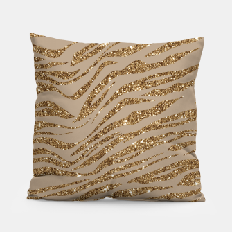 Miniaturka Zebra Stripes Golden Glitter Elegant Glamorous Animal Pillow, Live Heroes