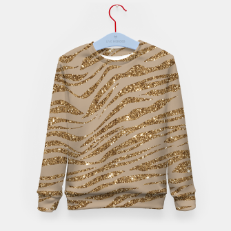 Miniaturka Zebra Stripes Golden Glitter Elegant Glamorous Animal Kid's sweater, Live Heroes