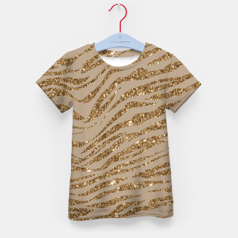 Miniaturka Zebra Stripes Golden Glitter Elegant Glamorous Animal Kid's t-shirt, Live Heroes