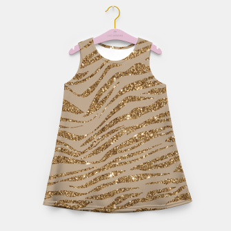 Miniaturka Zebra Stripes Golden Glitter Elegant Glamorous Animal Girl's summer dress, Live Heroes