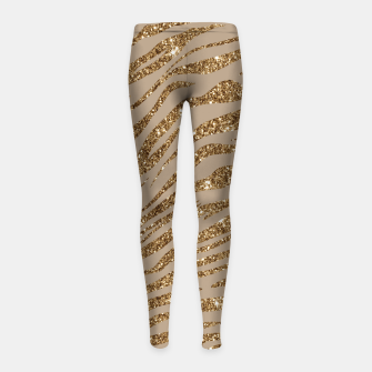 Miniaturka Zebra Stripes Golden Glitter Elegant Glamorous Animal Girl's leggings, Live Heroes
