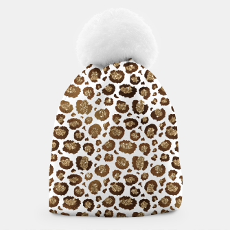 Thumbnail image of Leopard Spots Wild Animals Golden Glitter Girly Safari Beanie, Live Heroes