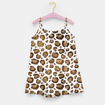 Thumbnail image of Leopard Spots Wild Animals Golden Glitter Girly Safari Girl's dress, Live Heroes