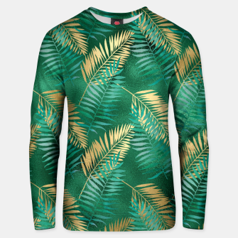 Miniaturka Natural Emerald Green Palm Leaf Bright Golden Jungle Unisex sweater, Live Heroes