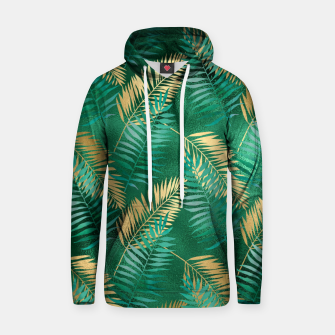 Miniaturka Natural Emerald Green Palm Leaf Bright Golden Jungle Hoodie, Live Heroes