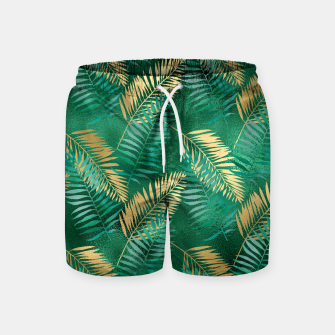 Miniaturka Natural Emerald Green Palm Leaf Bright Golden Jungle Swim Shorts, Live Heroes