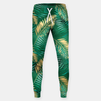 Miniaturka Natural Emerald Green Palm Leaf Bright Golden Jungle Sweatpants, Live Heroes