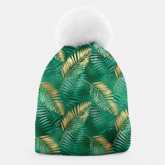 Miniaturka Natural Emerald Green Palm Leaf Bright Golden Jungle Beanie, Live Heroes