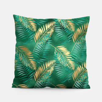 Miniaturka Natural Emerald Green Palm Leaf Bright Golden Jungle Pillow, Live Heroes