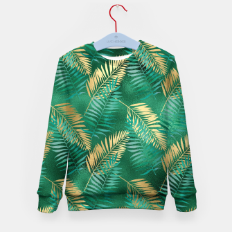 Miniaturka Natural Emerald Green Palm Leaf Bright Golden Jungle Kid's sweater, Live Heroes