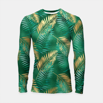 Miniaturka Natural Emerald Green Palm Leaf Bright Golden Jungle Longsleeve rashguard , Live Heroes